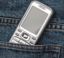 Cellphone in blue jeans by portosabbia