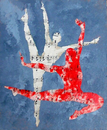 dancers, acrylic and collage manuscript by beachshack