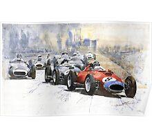 Red Car Ferrari 801 German GP 1957 Poster