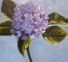 Blue hydrangea. Acrylic Elizabeth Moore Golding 2009 by Elizabeth Moore Golding
