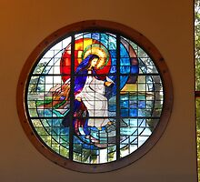 Our Lady of the Lake Stained Glass by Janet Houlihan