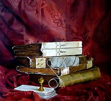 Old books with a ball of string and a stamp by pucci ferraris