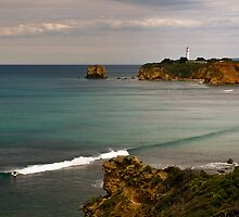 """Split Point Lone Surfer""Airey's Inlet,Great Ocean Road,Australia. by Darryl Fowler"