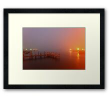 foggy harbour Framed Print