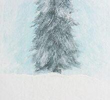 Winter Pine Tree - Acrylic Painting by Christopher Johnson