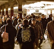"""Boston Commuters"" 3 - Coming Off the ""T"" - © 2009 by Jack McCabe"