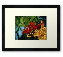 Red and Yellow Lilies Framed Print