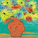 """"""" A vase of  yellow flowers"""" by catherine walker"""