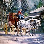 Cobb &amp; Co Coach with Heavy Horses by Pieter  Zaadstra