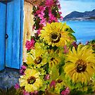 Sunflowers in the porch, Acrylic painting by Esperanza Gallego
