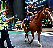 NYPD Mounted in Time Square by Ken Yuel