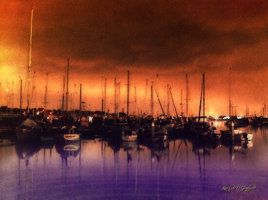San Diego Harbor Midnight Moon by Rhonda Strickland