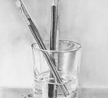 Brushes and pencil in water by Jill Tisbury