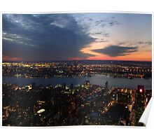 Twilight in the Sky, Sunset From Manhattan, New York City, Empire State Building Poster