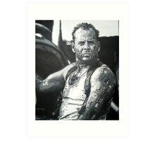 Bruce willis in die hard iconic piece by artist Debbie Boyle - db artstudio Art Print