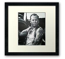 Bruce willis in die hard iconic piece by artist Debbie Boyle - db artstudio Framed Print