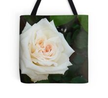 White Rose With Natural Garden Background Tote Bag