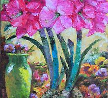 Blooming Pink Amaryllis & Yellow Vase by sharlesart