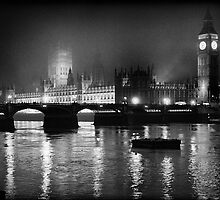 Westminster Palace, A Foggy Winter Night, London, UK by aldogallery