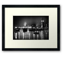 Westminster Palace, A Foggy Winter Night, London, UK Framed Print