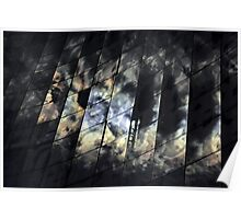 Kaleidoscope-reflections of sun and clouds in the glass facade Poster