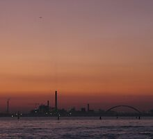 Red sky over Industrial Venician skyline by mariondixon