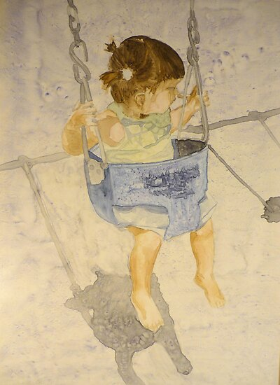 Swing : Charlotte, watercolor on yupo paper by Sandrine Pelissier