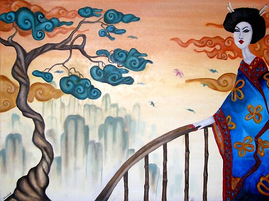 Geisha and the Mountains by Octavio Velazquez