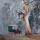 Gum Tree Delivery Van - Australian Landscape by Pieter  Zaadstra