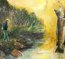 The Fly Fisher at Task - River Fishing by Pieter  Zaadstra