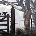 Crows on Gate at Rowella, Tamar Valley, Tasmania by Pieter  Zaadstra