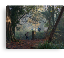 Walking in the Autumn Mist at the Blaise Castle Estate, Bristol. Canvas Print