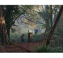 Walking in the Autumn Mist at the Blaise Castle Estate, Bristol. Photographic Print