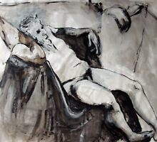 Reclining nude with horns - drawing in ink by Lorry666