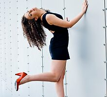 Dancer working the riveted wall #3 by Mark Elshout