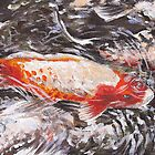Koi Fish Swimming in Pond by Gayle Utter
