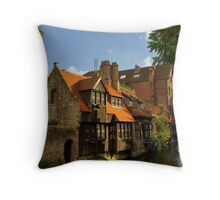 Brugge canal scene Throw Pillow