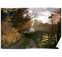 """""""Country Lane In The Late Autumn Sunlight"""" Poster"""
