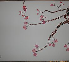 3 Tone Cherry Blossom Branch 32x23 Acrylic on Canvas by boocifer