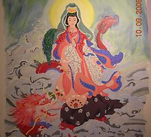 Kwan Yin standing with dragon in the ocean 14x18 acrylic on canvas by boocifer