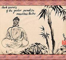 Dark Secrets (garden Buddha). Haiga by Origa