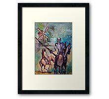 Don Quixote w Windmill & Dragon Framed Print