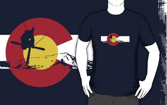 Skier - Colorado Flag - Iron Cross by FlagSilhouettes