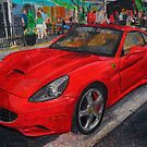 Ferrari California oil pastel drawing. by SteveBrandon