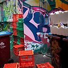 Melbourne City Alley, Graffiti and crates by Peter Roberts