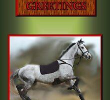 RUNNING HORSE - CHRISTMAS GREETING by Cheryl Hall