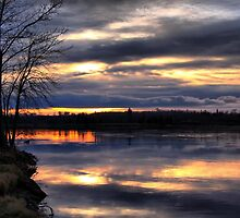 Sunset at Otter Falls by Vickie Emms