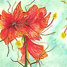 Watercolor Red Flowers by angora998