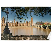 Thames View of Big Ben and Houses of Parliament Poster