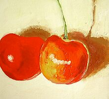 Two cherries by Miles Histand
